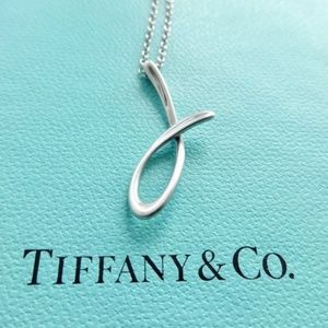 "Authentic Tiffany & Co. ""J"" Pendant necklace"